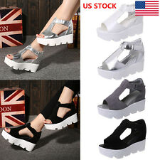 Womens Platforms Wedges Sandals Ladies Peep Toe Strappy Summer Shoes US Size 3-8