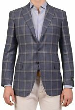 BELVEST Hand Made In Italy Blue Windowpane Cashmere Flannel Blazer Jacket NEW