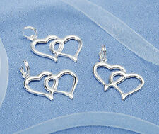 20 or 40 pieces Linked Double Silver Heart Charms Wedding/Bridal Shower Favors