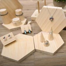Natural Wooden Jewelry Display Stand Earring Bracelet Ring Holder Organizer