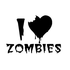 I Love Zombies Vinyl Decal Sticker heart funny car truck window dead blood 392