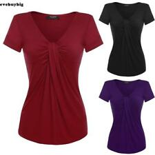 2017 Women V-Neck Short Sleeve Solid Twist Knot Front Blouse Tops New