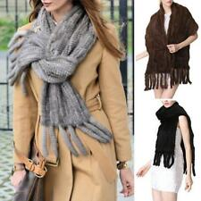 Women's 100% Real Knitted Mink Fur Cape Stole Shawl Outwear Warm Scarf As Gift
