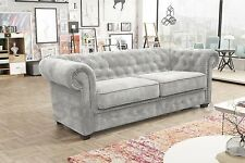 Brand New Venus Chesterfield Style 3 Seater Sofa Bed Fabric Grey Cream Brown