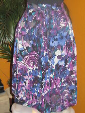 KATE HILL $94 women's skirt  black purple flowers 100% silk below knee NWT