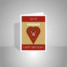 Friend Happy Birthday card for man boy male friend typography heart 4 ever red