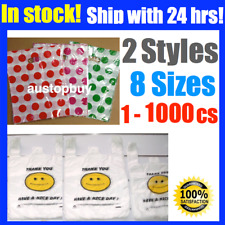 Plastic Shopping Die Cut Handle Singlet Carry Bags Smiley Face Pink Red Green DT