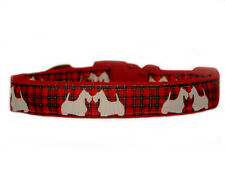 """ red tartan white dogs "" medium large dog/puppy collar 1"" cushioned"