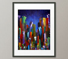 Fine Art Prints Contemporary Painting Modern CityScape Skyline Abstract Urban