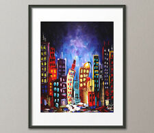Fine Art Prints Contemporary Urban Modern Painting CityScape Skyline Abstract