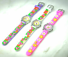 Kids Rubber Watch-Silver Face, Purple, Pink, White