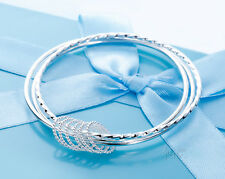 Womens Sterling Silver Bangle Bracelet Fashion Triple Circle Bangle Bracelet