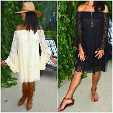 Boho Gypsy Cream or Black Off Shoulder Lace BIG Bell Sleeve Ladies Dress S-L