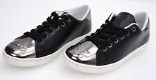 LIU-JO WOMAN SNEAKER SHOES BLACK AND SILVER LEATHER CODE S66041 P0015