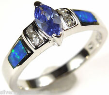 Tanzanite and Blue Fire Opal Inlay Solid 925 Sterling Silver Ring size 6,8,9
