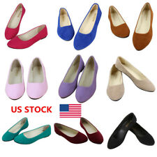 US Candy Color Women Suede Slip On Flats Loafer Pointy Toe Ballet Shoes Oxfords
