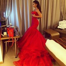 Hot Red Sexy Mermaid Sweetheart Delicate Designing Wedding Dresses Custom Made