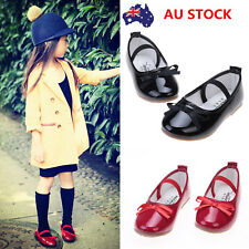 Kids Girl Bowknot Leather Slip-on Casual Princess Dress Dance Sandals Flat Shoes