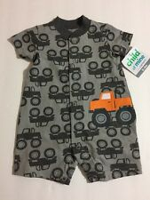 Child Of Mine by Carters Baby Boy Gray Truck 1 Piece Romper 0-3 or 3-6 Months