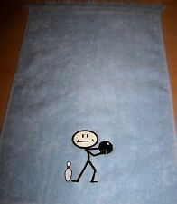 """11x18 fringed Bowling towel Embroidered """"Stick Bowl"""" 18 colors personalied free"""
