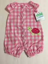 Child Of Mine by Carters Pink White Checker 1 Piece Romper 0-3, 18 Months Turtle