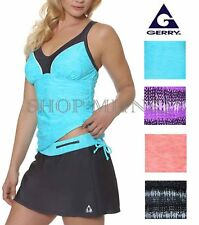Gerry Womens 2 Piece Tankini Swimsuit Set 4-Way Stretch and Built in Bra-NWOT
