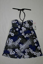 NEW WOMENS TROPICAL ESCAPE ONE PIECE HALTER SWIMDRESS BLACK WITH FLORAL PRINT