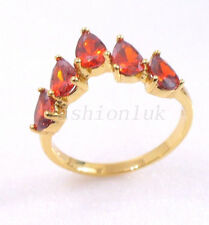 fashion1uk Fire Ring Size M N O Q 18K Gold Plated Simulated Diamond Red Ruby