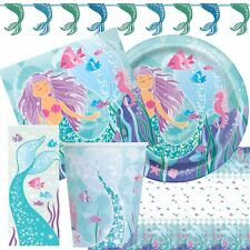 Mermaid Birthday Party Tableware Under The Sea Girls Pink Decorations