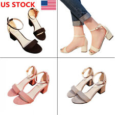 US Women Ladies Block Ankle Strap Peep Toe Mid Heel Sandal Party Casual Shoes