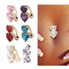 Wholesale Navel Belly Ring Crystal Button Body Piercing Jewelry Double Heart R1