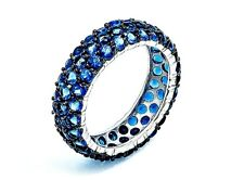 Pave Blue Sapphire Round Cubic Zirconia Sterling Silver Eternity Band Ring