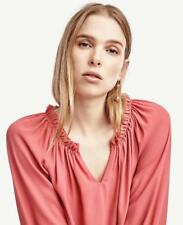 NWT ANN TAYLOR Split Neck Long Sleeve Flounce Blouse  $80 Sand Washed Red  NEW