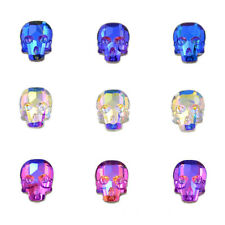 10 x 7.5mm Crystal Rhinestone Skull Flatbacks No-Hotfix Crystal Blue Rose
