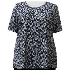 A Personal Touch Women's Plus Size Grey Leopard Top