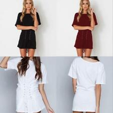 Women Casual Solid Round Neck Short Sleeves Pleated Ruched Tie Waist Mini Dress