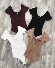 Women Solid V Neck Lace Up Hollow Out Short Sleeve Tight Stretchy Sexy Bodysuit