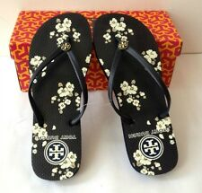 TORY BURCH Flip Flop Black Floral Sz 6 7 8 9 10 Gold Logo Thong Sandals NEW