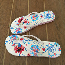 TORY BURCH Flip Flop White Floral 6 7 8 9 Gold Logo Thong Sandals Pink Sole NEW