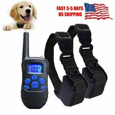 Electric Remote Dog Training Shock Collar Anti No Bark Rechargeable LCD 300 Yard