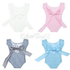 Infant Baby Girl Lace Bowknot Romper Bodysuit Jumpsuit Photography Prop Outfits