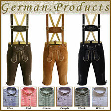 Trachten German Bavarian Oktoberfest Kniebund Lederhosen + Shirt Package / Set