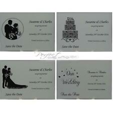 Personalised White Wedding Save The Date Cards Silhouette Design With Envelopes