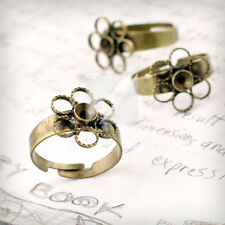 5/10pcs Ring Mountings Flower DIY Engagement Settings Antique Brass 4 Sizes