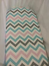 Organic cotton bassinet or moses basket fitted sheet, blue, pink, chevron