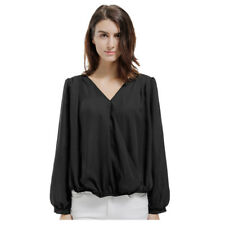 US Stock Women Long Sleeve V Neck Back Lace Hollow Out Loose Casual Blouse Shirt