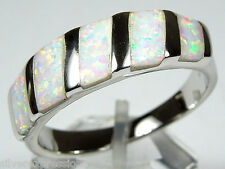 Quality White Fire Opal Inlay Solid 925 Sterling Silver Band Ring Size 8 - 9