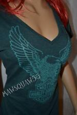 NWT Harley Davidson L V Neck *Upwing Out* Dark Green Teal Graphics Tee Top Shirt