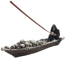 Halloween Scary Grim Reaper in Fishing Boat of Skeleton Incense Holder Halloween