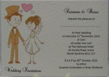 Personalised A6 Cute Bride Groom Wedding Day Or Evening Invites White Or Ivory